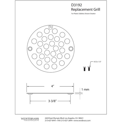 Westbrass Plastic Oddities 4.5'' Grid Shower Drain Cover
