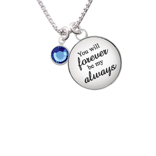 """Crystal Blue Channel Drop You will Forever be My Always Glass Dome Necklace, 18""""+2"""""""