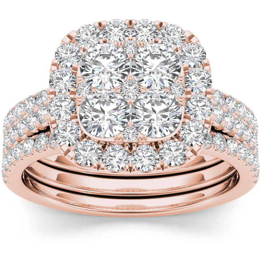 Imperial 2 Carat T.W. Diamond Single Halo Cluster Two-Band 14kt Rose Gold Engagement Ring Set by Imperial Jewels