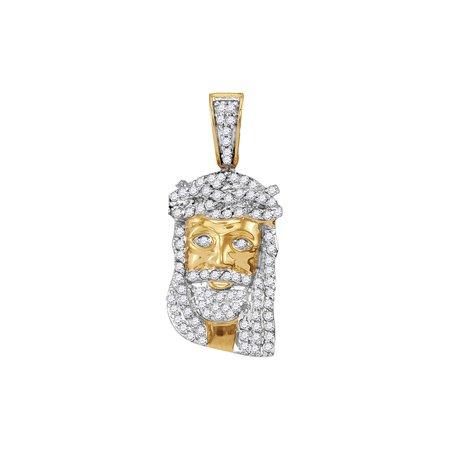 10K Yellow Gold Mens Diamond Small Jesus Christ Messiah Head Necklace Pendant 1/3 Ctw.