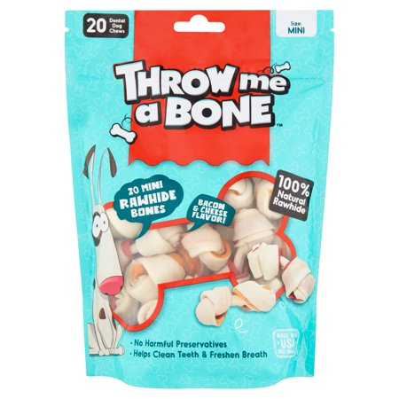 Throw Me A Bone Mini Bacon   Cheese Flavor  Dental Dog Chews  20 Pack