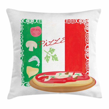Pizza Throw Pillow Cushion Cover, Delicious Food on Italian Flag Background Italian Cuisine Pizzeria Kitchen Concept, Decorative Square Accent Pillow Case, 20 X 20 Inches, Multicolor, by Ambesonne