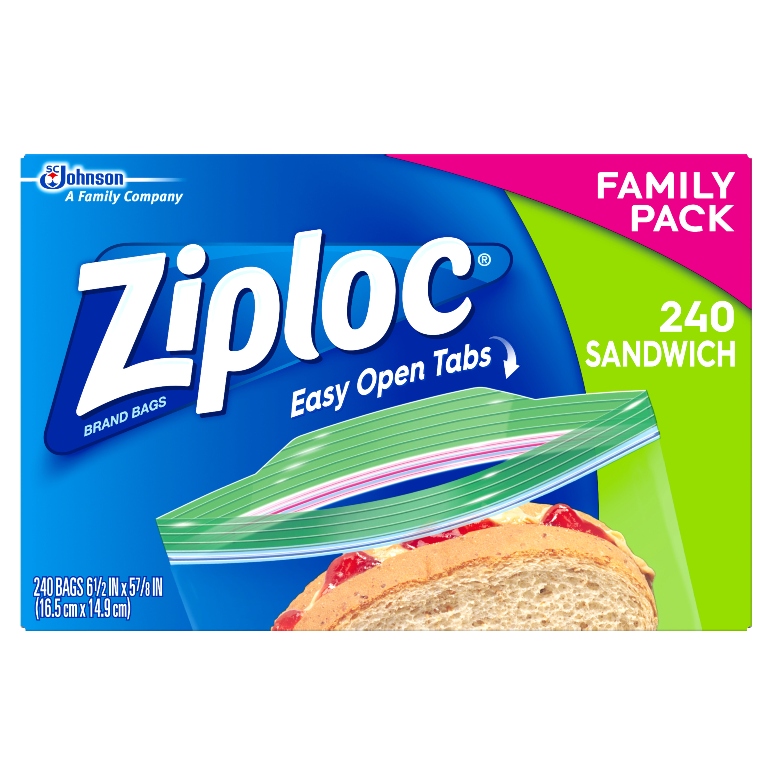 Ziploc Sandwich Bags, Family Value Pack, 240 count
