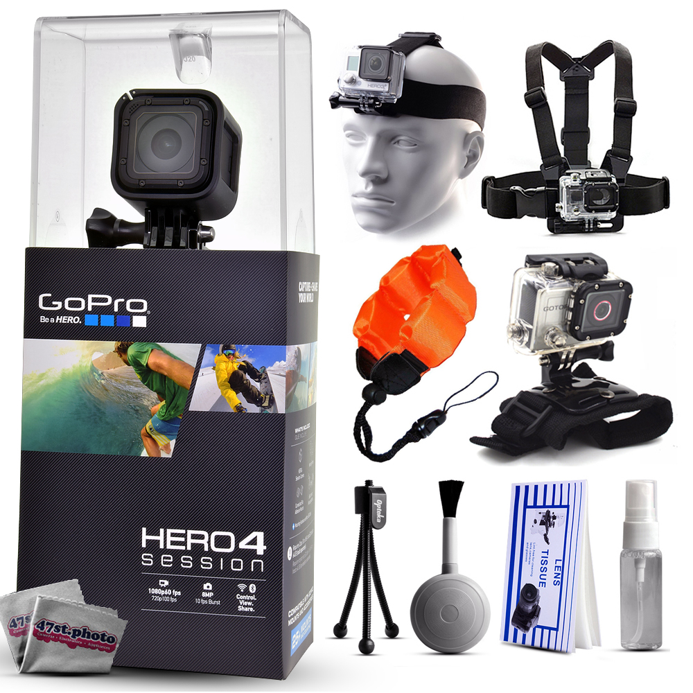 GoPro Hero 4 HERO4 Session CHDHS-101 with Headstrap + Chest Harness Mount + Wrist Glove Strap + Floaty Bobber + Mini Tripod + Cleaning Kit