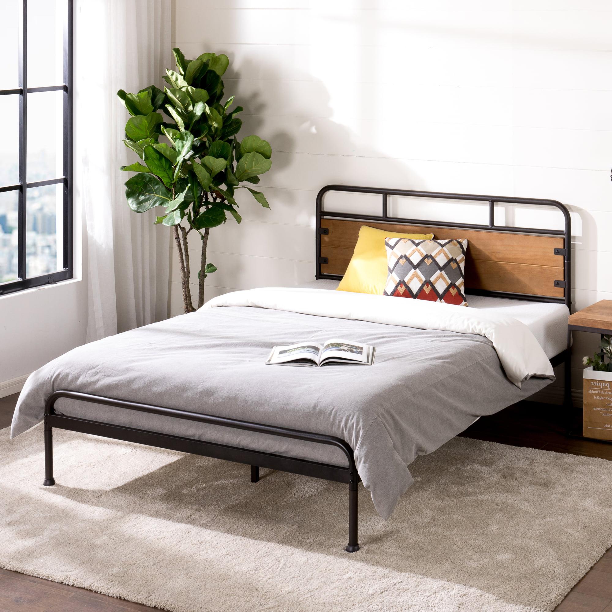 Zinus Eli 41 Metal And Wood Platform Bed Queen Walmart Com Walmart Com