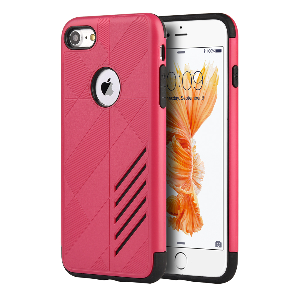 Phone Case for iPhone 7 Movement Hybrid Case Black Tpu + Hot Pink Pc Cover