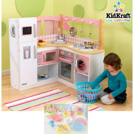 KidKraft Grand Gourmet Deluxe Corner Kitchen Kids Play Set & 27 Piece Dish  Set