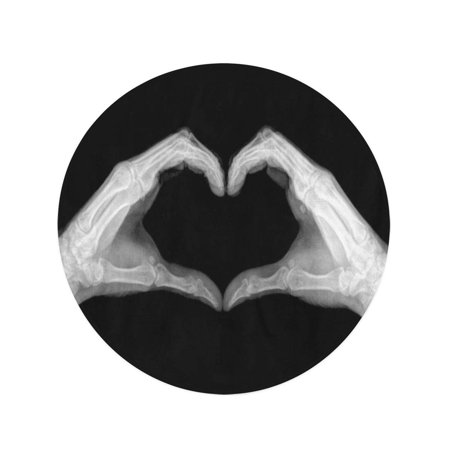 POGLIP 60 inch Round Beach Towel Blanket Love X Ray of Hands Making Heart Symbols Pictures Travel Circle Circular Towels Mat Tapestry Beach Throw - image 1 of 2