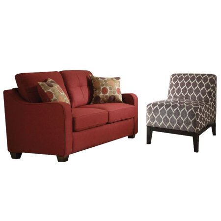 cozy accent chair cozy 2 piece red loveseat and brown accent chair set 13555 | 8c89d018 8995 4807 9094 6ba87973e44d 1.732437d1e07a3ac43205023b679d3aa4