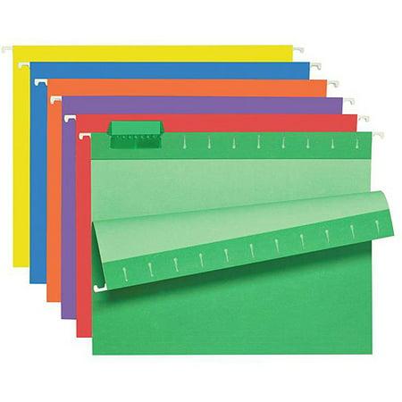 School Smart 11-Pt Manila Stock 1/5-Cut Colored Hanging File Folder, Letter, Purple, Pack of 25
