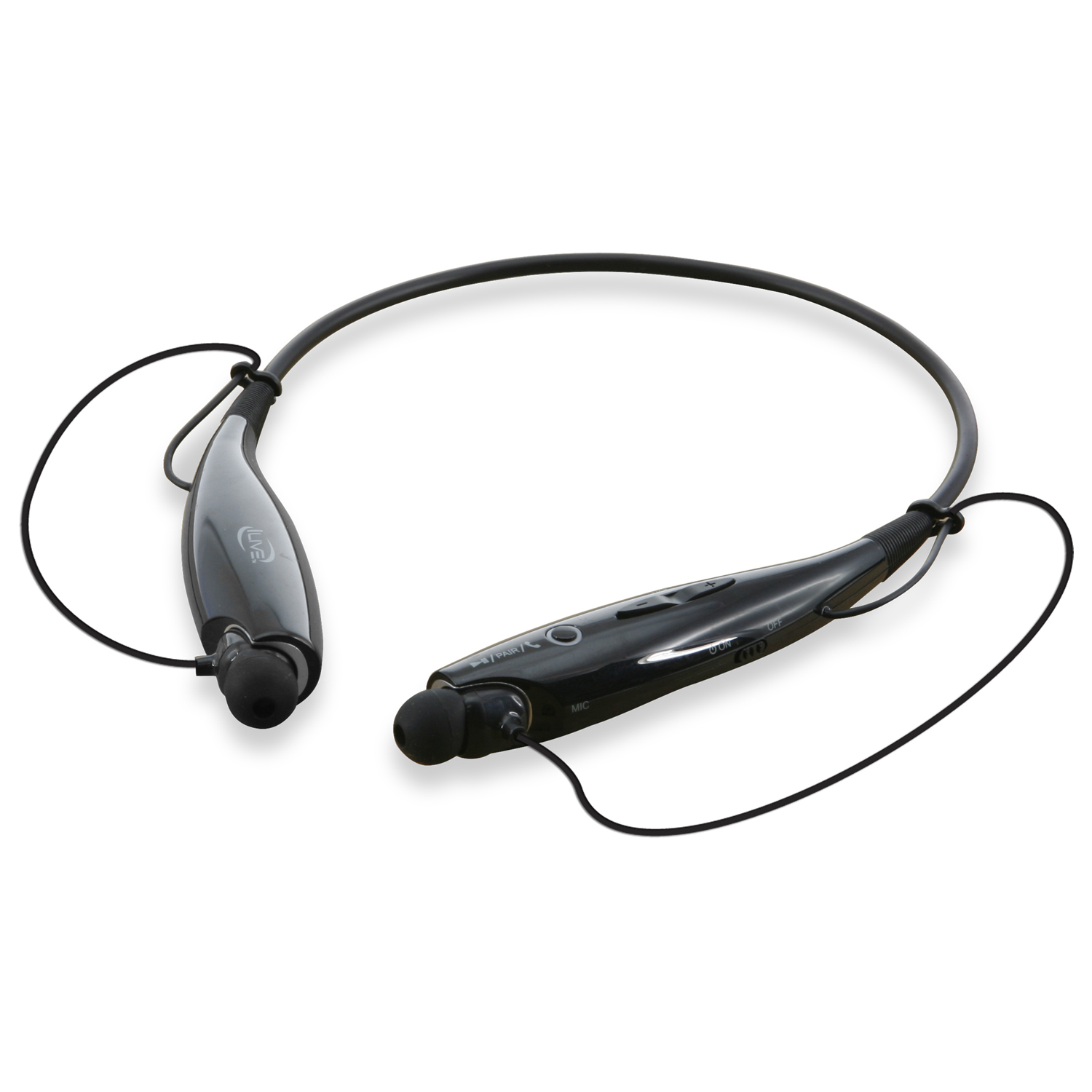 iLive IAEB25B Bluetooth Stereo Headset with Neckband Design, Black