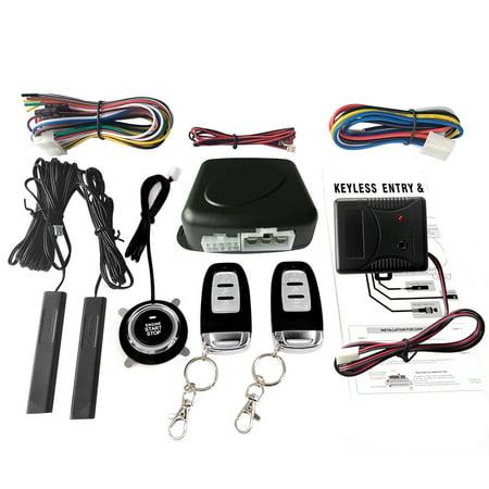 Car SUV Switch Keyless Entry Engine Start Alarm System with Vibration Sensor Push Button Remote Starter Stop Auto Anti-theft