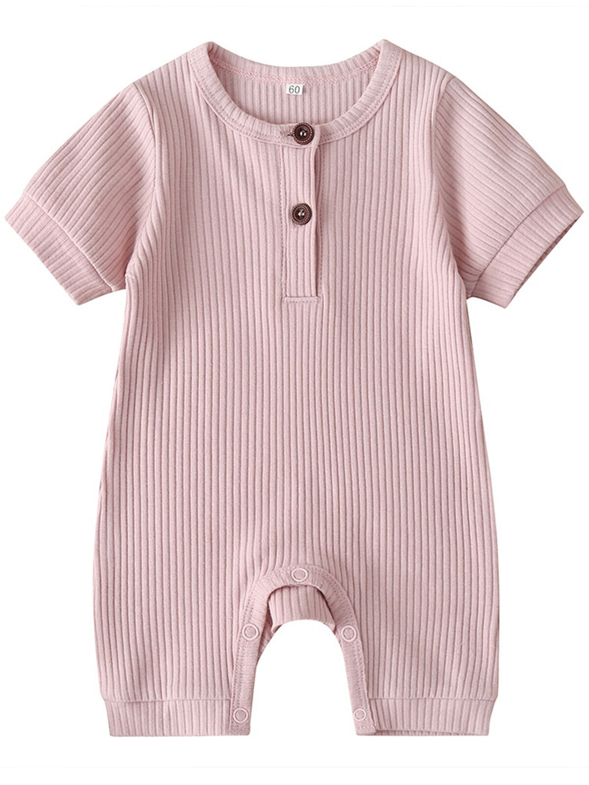 YOUNGER TREE Infant Toddler Baby Girl Boy Summer Solid Romper Cotton Jumpsuit Basic Short Romper Pink Blue One-Piece Clothes