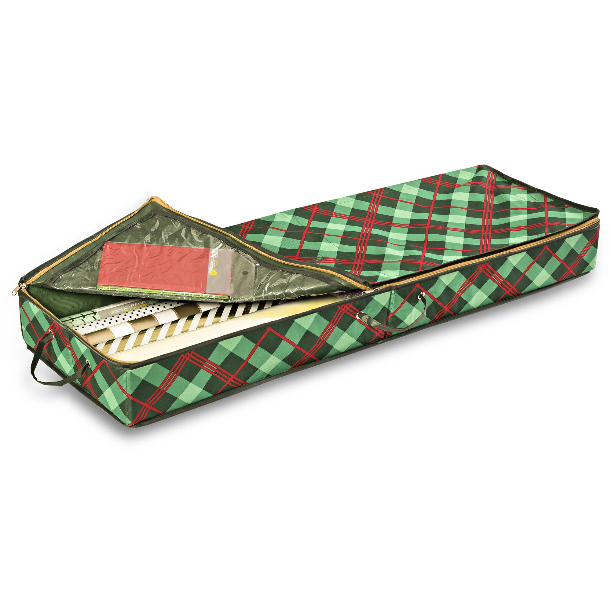 Honey Can Do Limited Edition Plaid Gift Wrap Organizer with Handles