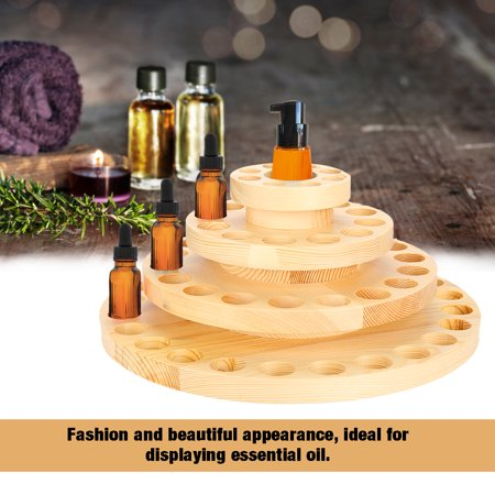EECOO Oil Storage Box,Holes Wood Essential Oil Bottle Storage Display Organizer Container Wooden Round Box Case,Essential Oil Case Round Wood Box