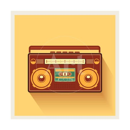 80s Cool Art - Classic 80S Boombox Portable Cassette Tape Player on Retro Background Detailed Vector Icon Print Wall Art By Viktorus