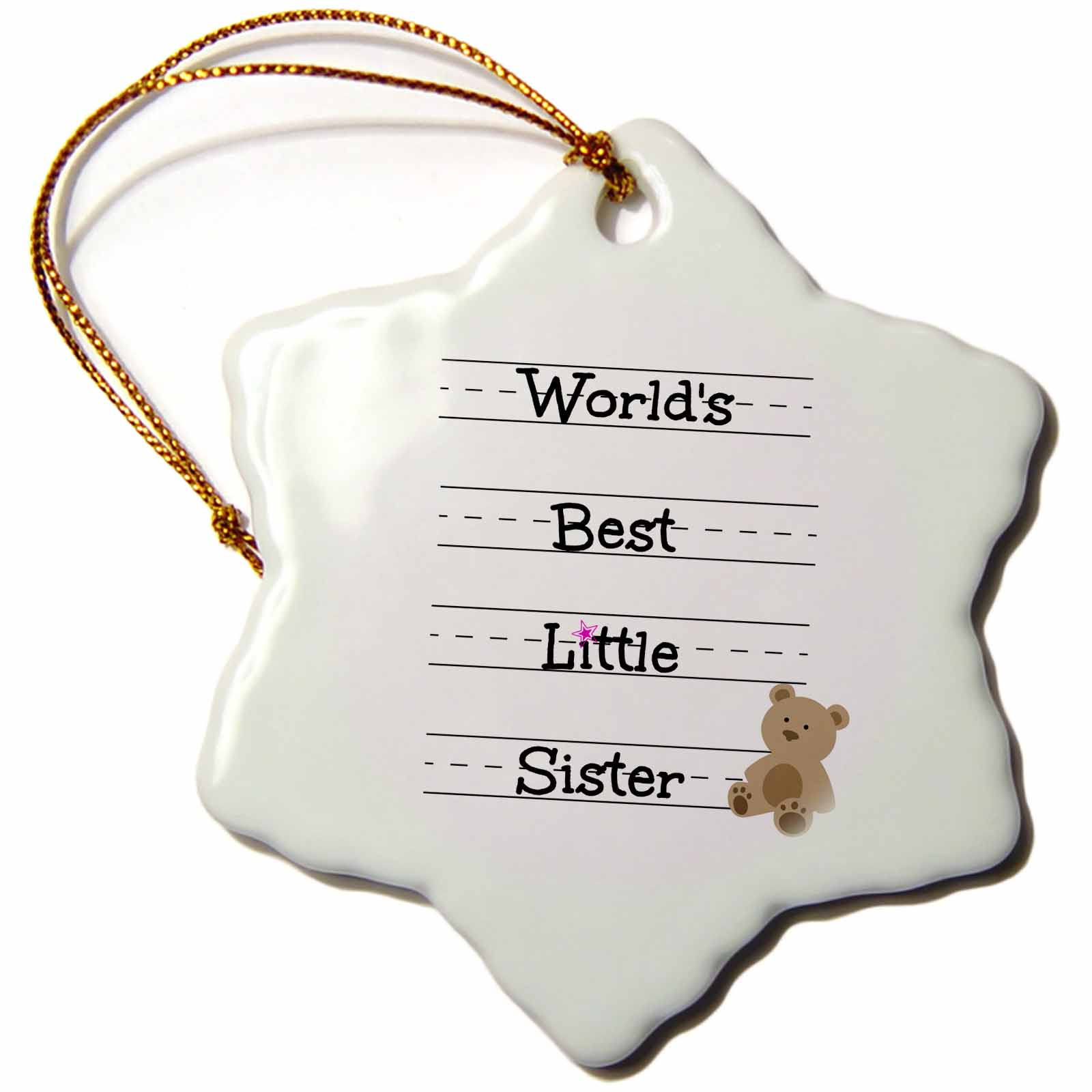 3dRose Worlds best little sister, Snowflake Ornament, Porcelain, 3-inch