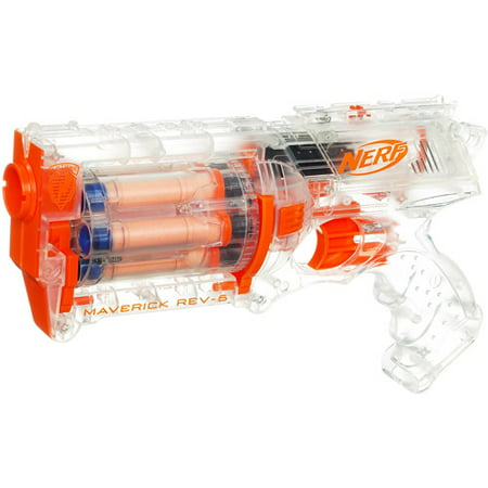 Nerf N Strike Clear Maverick Rev 6 Blaster Walmart Com