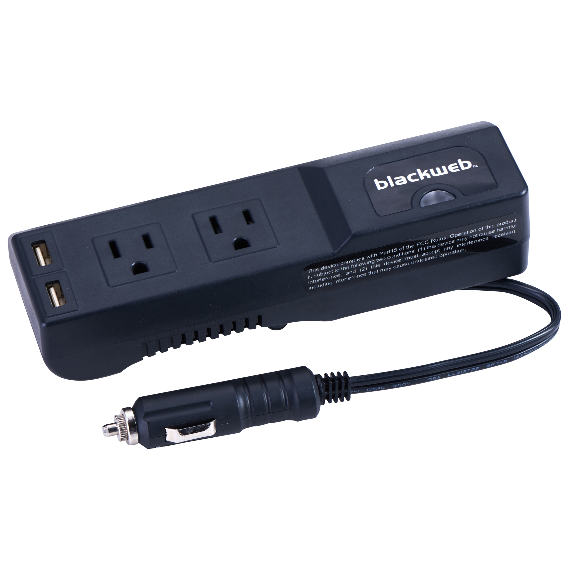 Blackweb 175 Watts Power Strip Inverter for Car Charging, 3 ft Power Cord