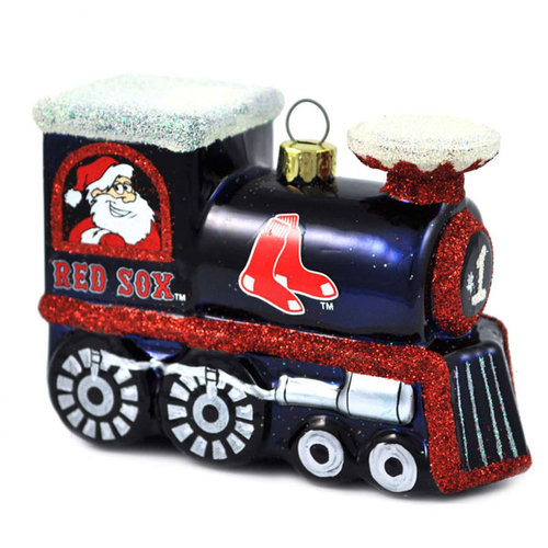 Boston Red Sox Official MLB 3 inch x 2.5 inch  Blown Glass Train Christmas Ornament by Topperscot