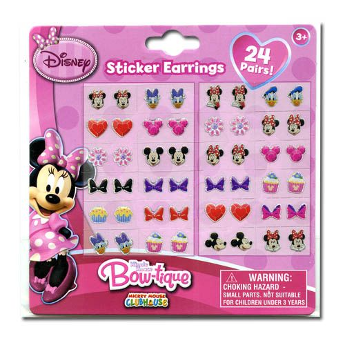 Disney Minnie Earrings Set - 24 Pair Sticker on Earrings