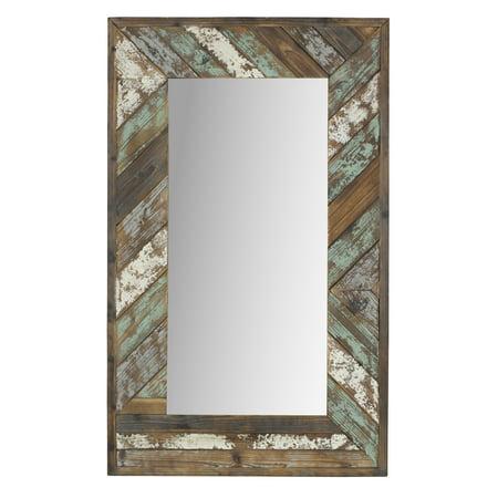 Brogan Distressed Wood Slat Wall Mirror Multi-Colored 43