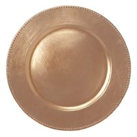 AK-Trading - Set of 12, Premium Finest Quality Party Plate Chargers, 13-Inch Round, Copper Brushed Design