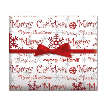 Merry Christmas Script Jumbo Rolled Gift Wrap - 72 sq. ft