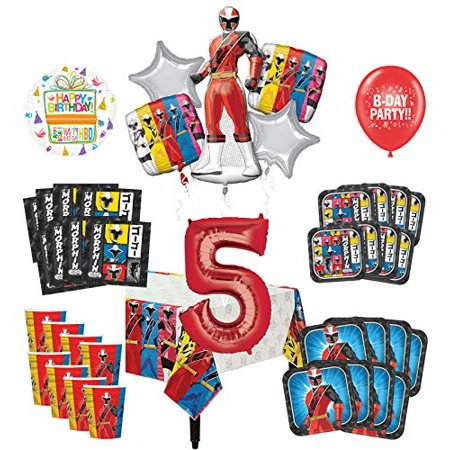 Mayflower Products Power Rangers 5th Birthday Party Supplies 8 Guest Decoration Kit and Balloon Bouquet - Power Rangers Party Decorations