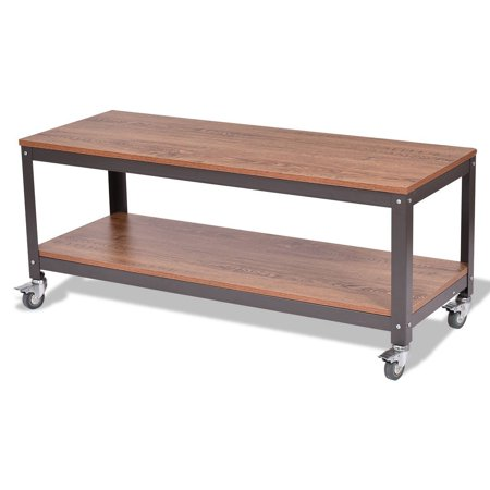 Outdoor Tables Stainless Wood Tile (2 Tiers Wood Metal Rolling Coffee)