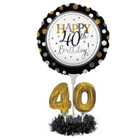 Set of 4 Black and Gold colored Happy 40th Birthday! Foil Party Balloon Centerpiece Kits 30""