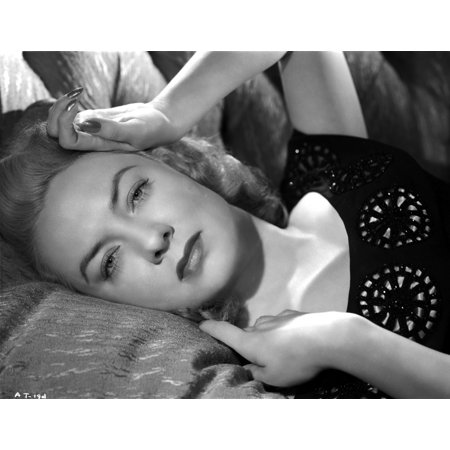 Audrey Totter Lying with Left Hand on Head Photo - Trotter Photos