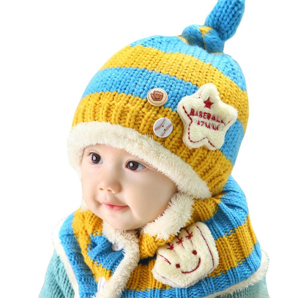 Toddler Kids Girl/&Boy Baby Infant Winter Warm Crochet Knit Hat Beanie Cap Scarf