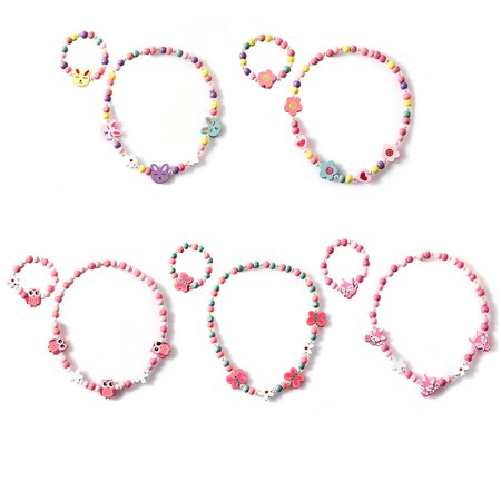 JOYFEEL Clearance Children Cartoon Necklace Colorful Animal Kid Jewelry Floral Beads Fashion Bracelet Accessoriesfor Baby