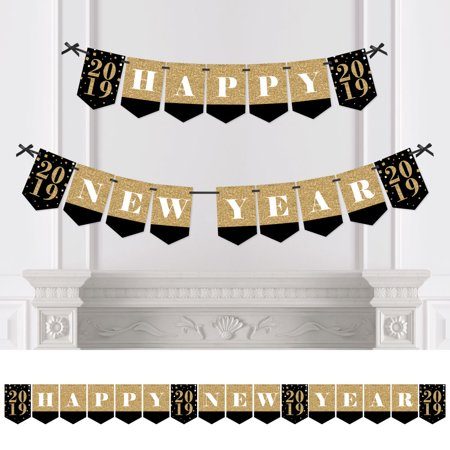 Happy New Year 2019 Gold Party Banner (New Years Eve Banners)