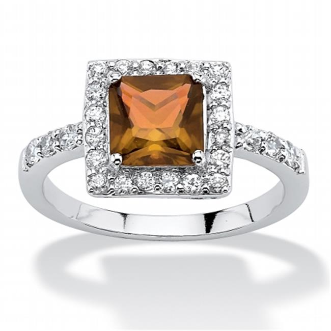 Palm Beach Jewelry 54802159 Princess-Cut Birthstone Halo Ring, 0. 925 Sterling Silver, Simulated Citrine, Size 8