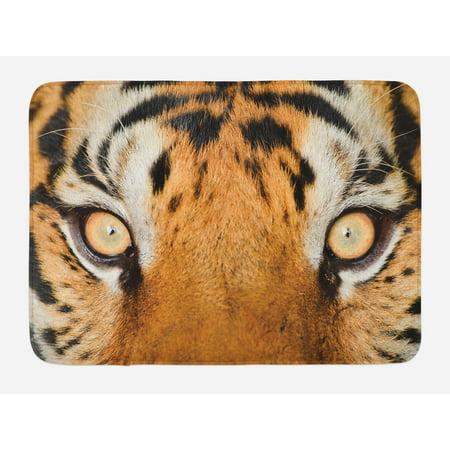 Safari Bath Mat, Close-up Tiger Eyes Hunter Look Feline Camouflage Coat Animal with Shady Colors, Non-Slip Plush Mat Bathroom Kitchen Laundry Room Decor, 29.5 X 17.5 Inches, Orange Black, (Mat Tiger)