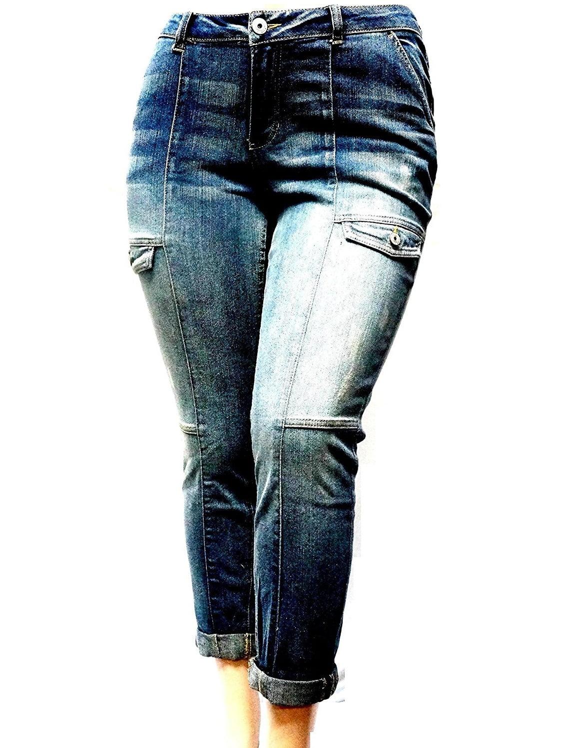 VANILLA STAR Women's Plus Size Medium-Wash Stretch double roll Cargo Denim Jeans