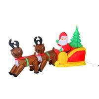 HomCom 7 ft. Inflatable LED Santa's Sleigh Lawn Decoration