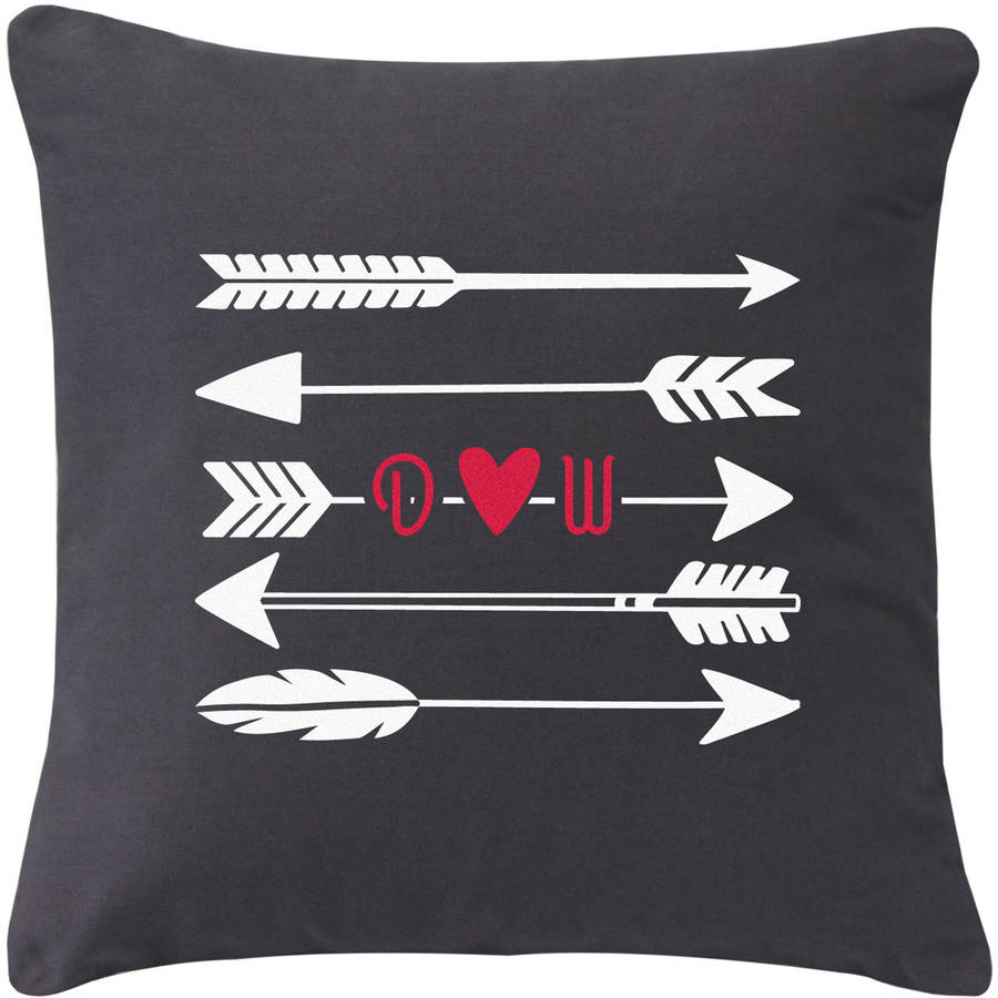 Personalized Initial Arrow Throw Pillow, Gray