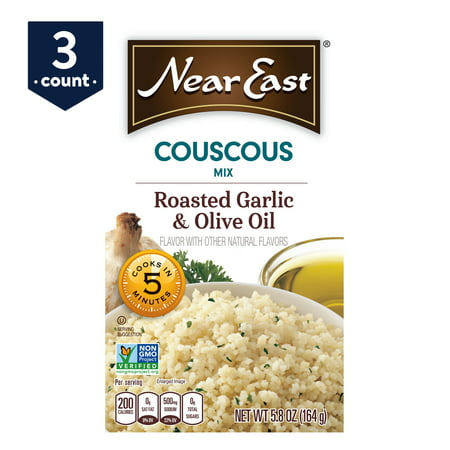 (3 Pack) Near East Couscous Mix, Roasted Garlic & Olive Oil, 5.8 oz Box
