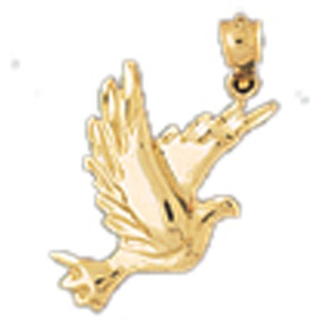 (14K Yellow Gold Hummingbird Pendant - 25 mm)