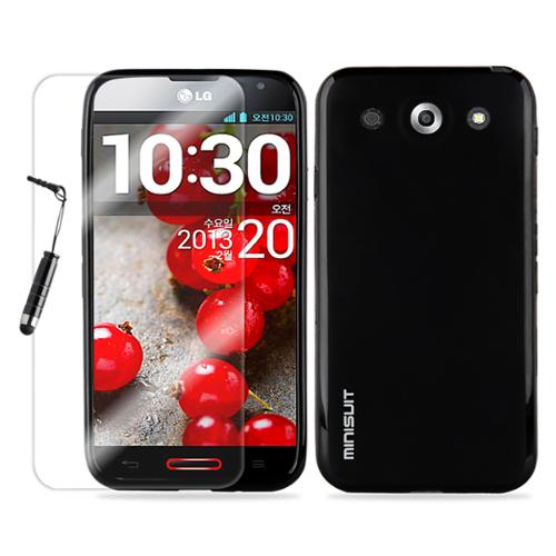 MiniSuit Bundle for LG Optimus G Pro - TPU Rubberized Case, Screen Protector, Stylus