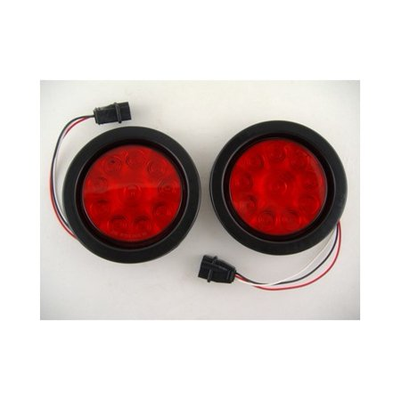 "4"" round red 10 led trailer truck brake stop turn tail lights / grommets"