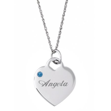 Personalized Birthstone Charm (Personalized Silver Tone or 14kt Gold-plated Name and Birthstone Heart Charm)