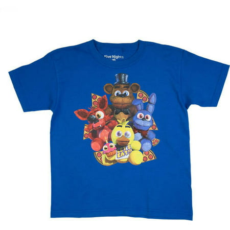 Five Nights at Freddy's Boys' Pizza Group Royal Blue Cotton T-Shirt - Five Nights At Freddy's Halloween Game