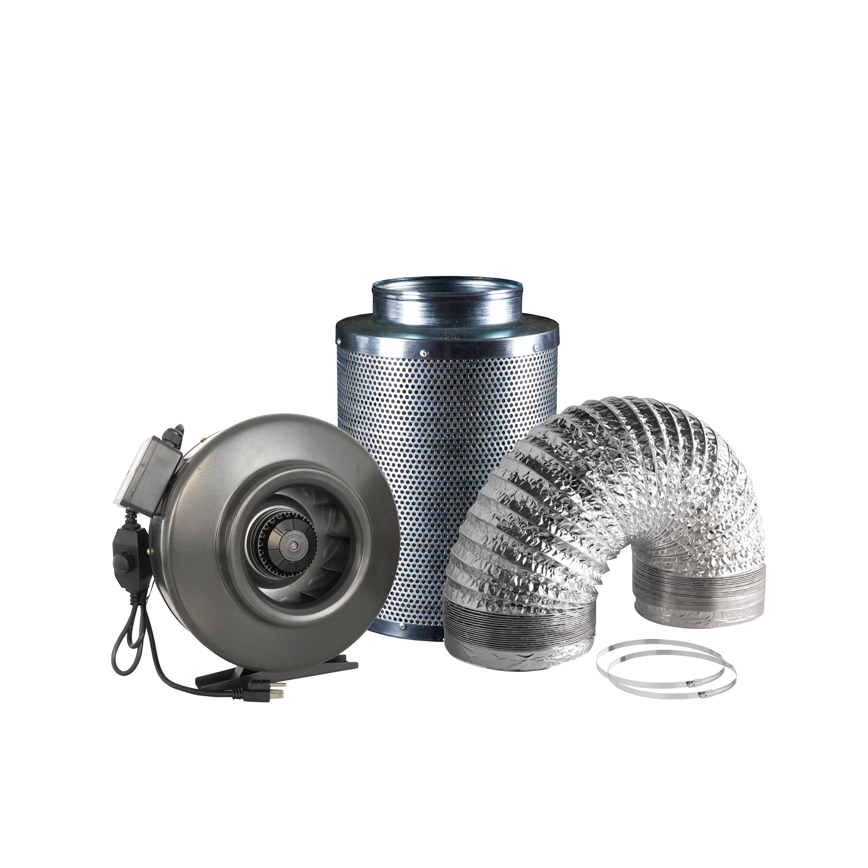 Hydro Crunch 188 CFM 4-inch Centrifugal Inline Duct Fan with Carbon Filter and Aluminum Ducting for Indoor Garden Ventilation