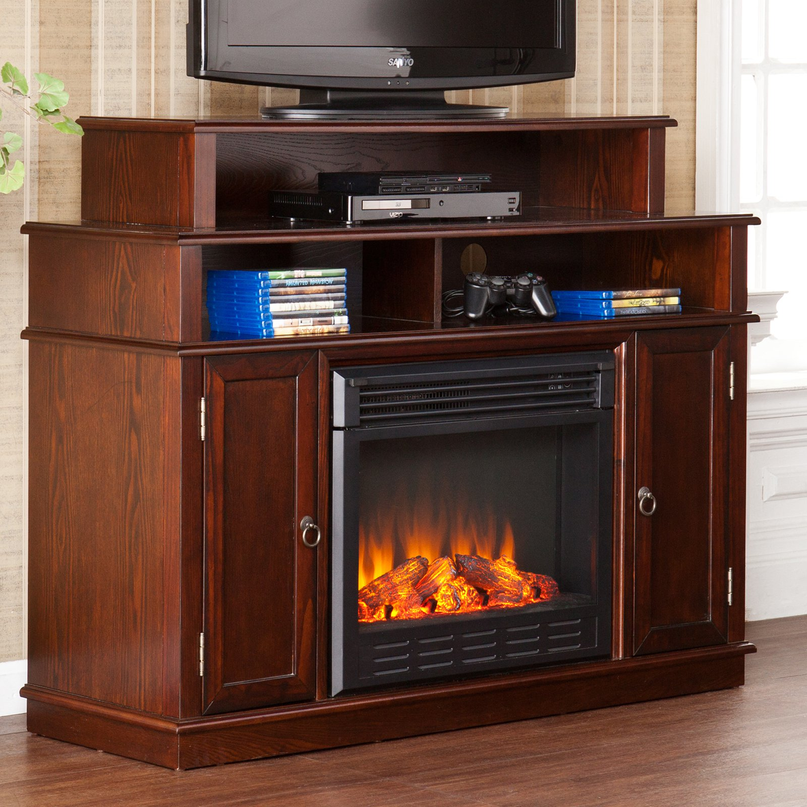 Southern Enterprises Lynden Espresso Electric Fireplace Media Console