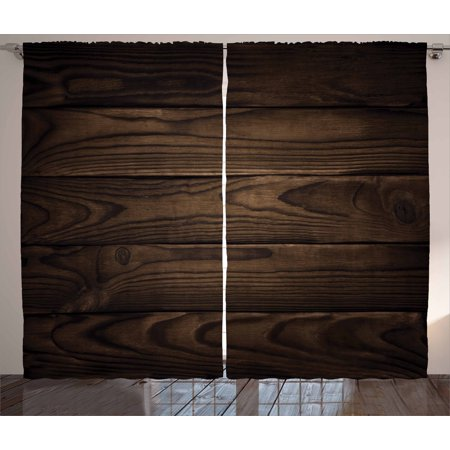 Chocolate Curtains 2 Panels Set, Vintage Rustic Illustration of Detailed Hardwood Floor Design Carpentry Themed Pattern, Window Drapes for Living Room Bedroom, 108W X 96L Inches, Brown, by Ambesonne Hardwood Floor Panel