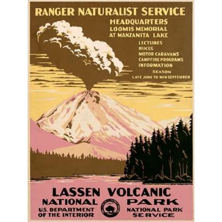 Lassen Volcanic National Park Ca 1938 Rolled Canvas Art   Ranger Naturalist Service  9 X 12